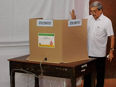 Manohar Parrikar casting his vote in Goa. PTI