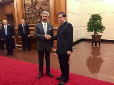 Foreign Secretary S Jaishankar and Executive Vice-Foreign Minister Zhang Yesui during the India-China Strategic Dialogue in Beijing. Image courtesy: Twitter/@EOIBeijing