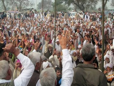 Jat protesters sitting on a dharna in Hisar on Sunday. PTI