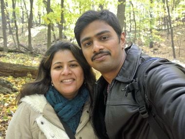 A file photo (provided by Kranti Shalia) of Srinivas Kuchibhotla (right) poses for photo with his wife Sunayana Dumala in Cedar Rapids, Iowa. AP