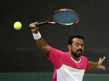 Leander Paes trains in Pune ahead of the Davis Cup tie against New Zealand. AFP