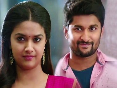 Keerthi Suresh and Nani in a still from Nenu Local. YouTube