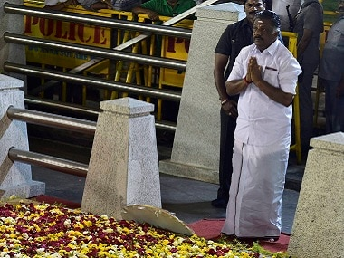 O Panneerselvam after meditating in front of late J Jayalalithaa's burial site at the Marina Beach in Chennai on Tuesday. PTI