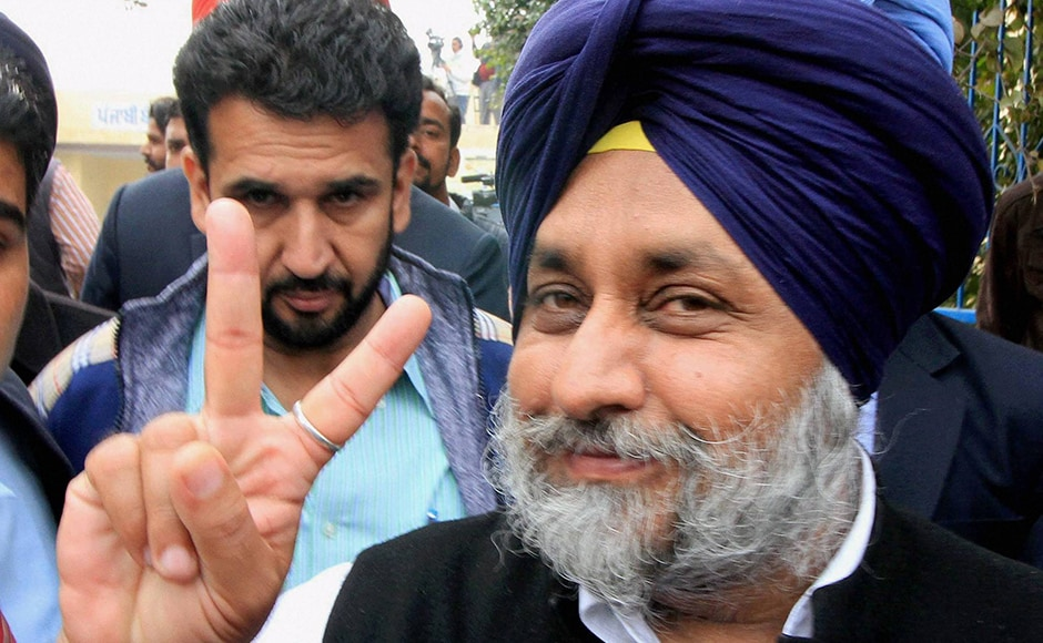 SAD president and deputy chief minister of Punjab Sukhbir Singh Badal showing a victory sign after casting his vote in Badal village in Muktsar district on Saturday. Earlier Congress Vice-President Rahul Gandhi had called Sukhbir Singh Badal a symbol of corruption. PTI.