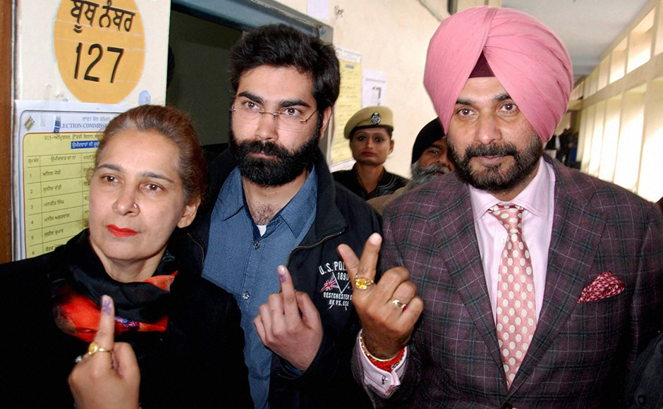 First phase of polling in Punjab was conducted on Saturday, 4 February. Congress candidate Navjot Singh Sidhu, along with his wife Navjot Kaur and his son, after casting their votes at a polling station in Amritsar on Saturday. The Amritsar Lok Sabha seat fell vacant following the resignation of Amarinder Singh to protest the apex court verdict on Punjab's river waters. PTI