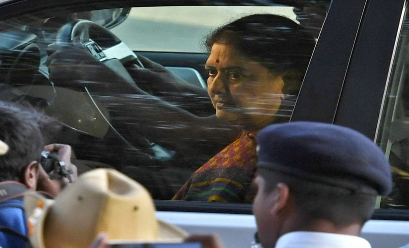 VK Sasikala arrives to surrender at the special court in Bengaluru on Wednesday. PTI