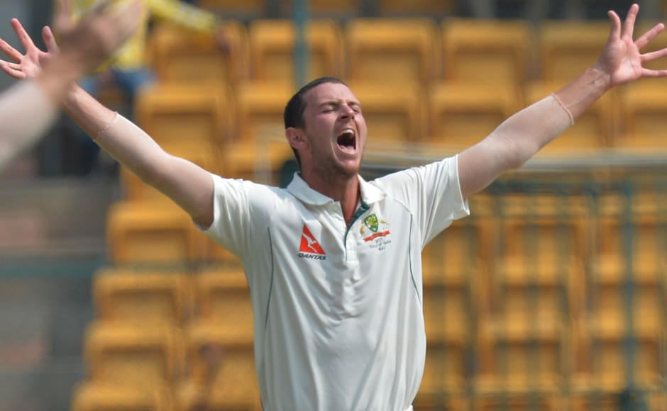 Australian bowler Josh Hazlewood celebrates a dismissal on Day 4 of the second Test match between India and Australia. He took 6 wickets to unsettle the hosts. AFP