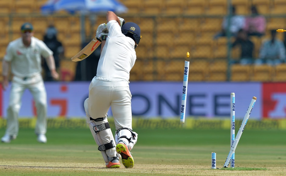 What a delivery! Indian batsman Karun Nair was in no man's land after being bowled by Mitchell Starc during the Day 4 of the second Test at The M. Chinnaswamy Stadium in Bengaluru. AFP