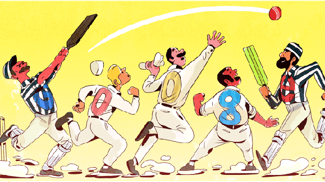 The Google Doodle commemorating the first Test match on 140th anniversary of the longest form of the game.