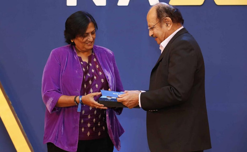Shantha Rangaswamy became the first receiver of the BCCI Lifetime Achievement Award. Image courtesy: BCCI
