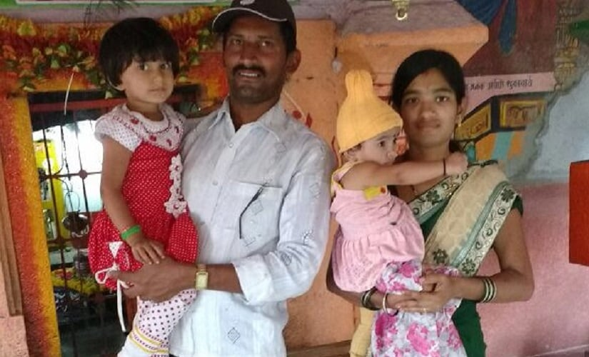 Swati Jamdade, the woman who died during an abortion, with her husband and two kids. Firstpost/Varsha Torgalkar