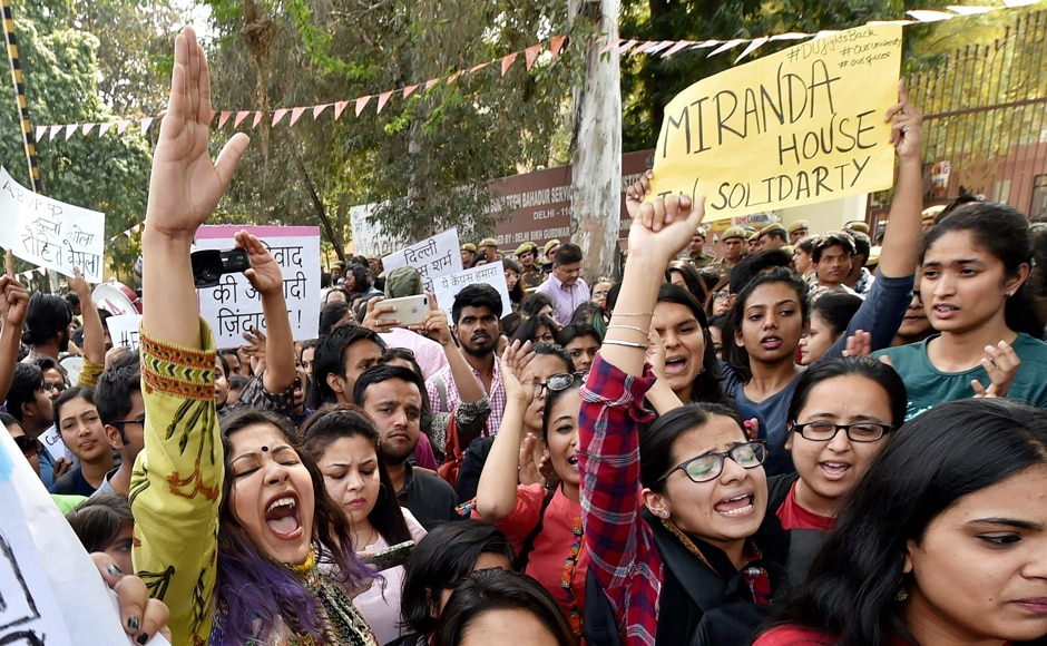 Students of Delhi University, JNU and Jamia during their protest march against ABVP at Delhi University North Campus in New Delhi on Tuesday. PTI