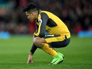 Arsenal's Alexis Sanchez looks dejected during the Premier League match against Liverpool. Getty Images