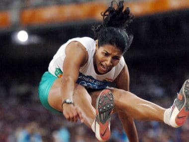File photo of India's Anju Bobby George in the women's long jump final during the Athens Olympic Games. AFP