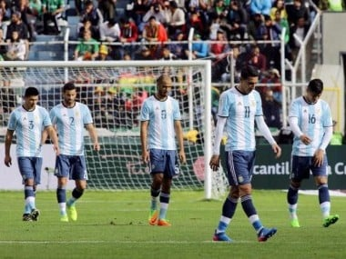 Argentina players react after losing to Bolivia in their World Cup qualification match. Reuters