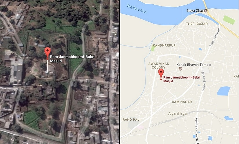 A Google Maps screengrap of the disputed land in Ayodhya.
