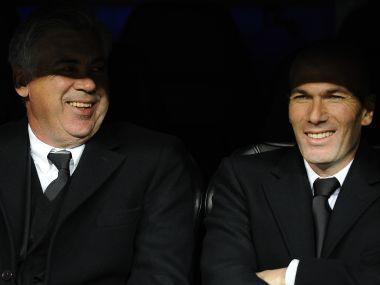Carlo Ancelotti (L) and Zinedine Zidane in 2014. AFP