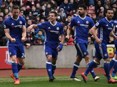Gary Cahill celebrates Chelsea's win with teammates. AFP