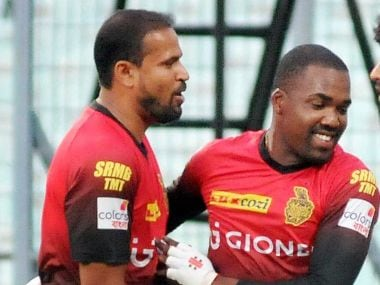 Darren Bravo (R) and Yusuf Pathan of Kolkata Knight Riders. PTI