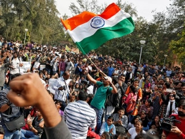 Protestors gather for speeches following a march held on Delhi University campus. Reuters