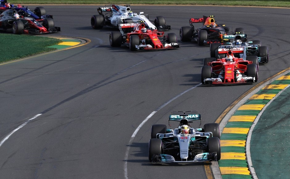Lewis Hamilton driving the (44) Mercedes AMG Petronas F1 Team Mercedes F1 WO8 led Sebastian Vettel driving the (5) Scuderia Ferrari SF70H at the start of the Australian Grand Prix. Hamilton was first to pit on lap 18 to change tyres. However, it proved a turning point in the race as he rejoined behind Red Bull's Max Verstappen and was then unable to pass the feisty Dutch teenager, as Vettel forged ahead. Getty