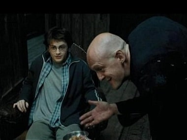 Tavare and Daniel Radcliffe in Harry Potter. Image via Youtube