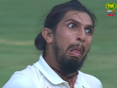 Ishant Sharma makes a face during the second Test against Australia. Image courtesy: Twitter/@CricketAus