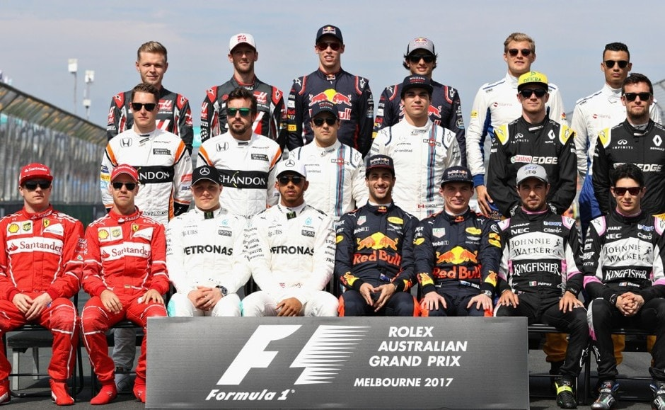 The F1 Drivers Class of 2017 photo during the Australian Formula One Grand Prix at Albert Park on Sunday. Getty