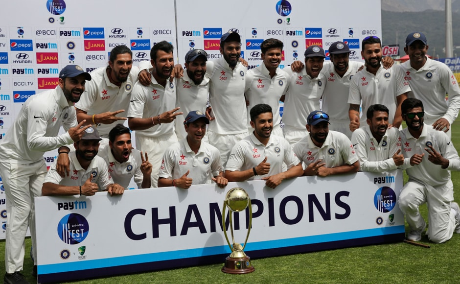 CHAMPIONS! India win the final Test by eight wickets to reclaim the Border-Gavaskar Trophy after four long years. AP