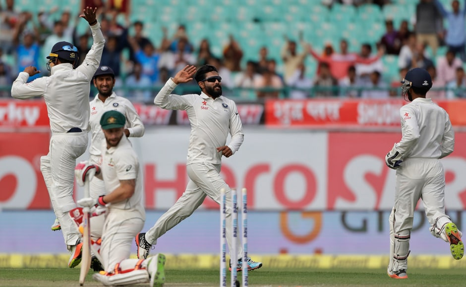 India's in-form Ravindra Jadeja was on top of the world after dismissing Matthew Wade during the first day of their fourth test cricket match in Dharamsala. AP