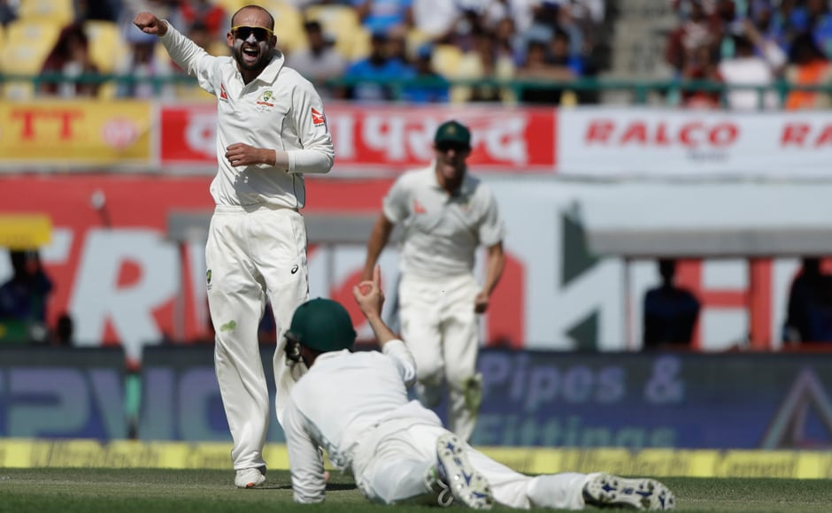 Australia's Nathan Lyon 'turned' game around with four wickets after the tea break during the second day of the fourth Test. AP
