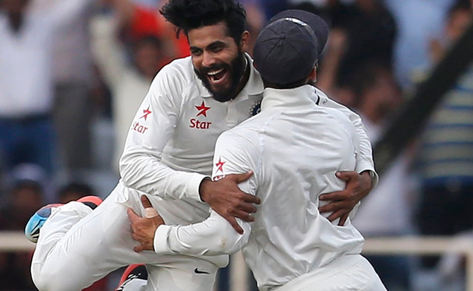 Sir for a reason! Ravindra Jadeja was on fire as he celebrates the dismissal of Australia's Nathan Lyon with Virat Kohli during the fourth day. AP