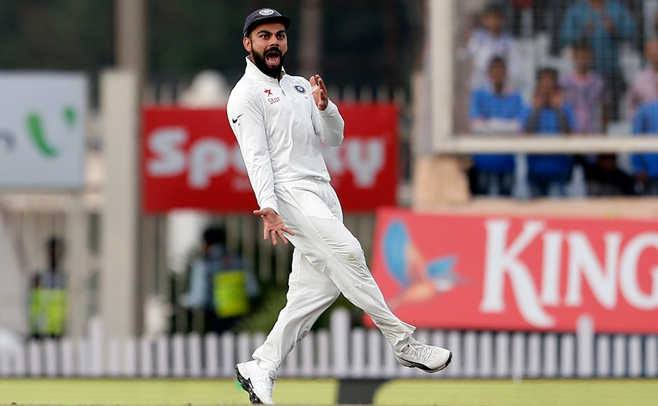 And Kohli was not behind when it came to sledging. Captain Virat Kohli gestures towards Australia's Matt Renshaw as he runs to celebrate the dismissal of David Warner early on the fourth day. AP