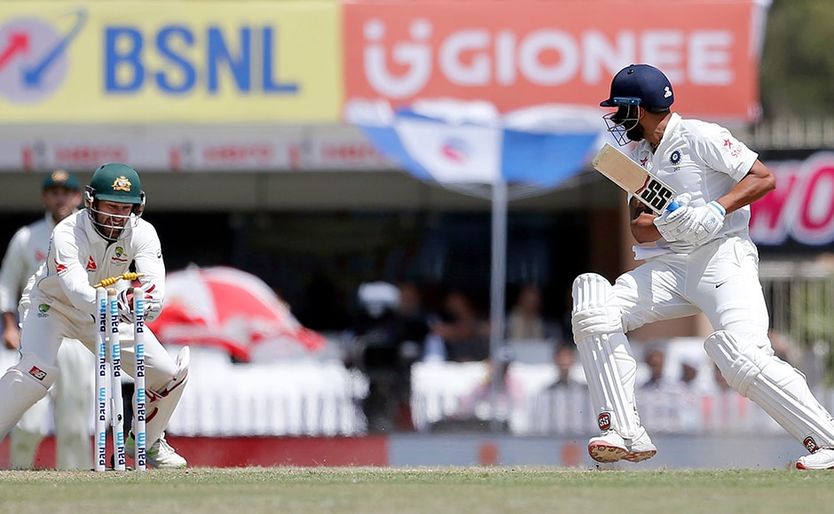 Australia's wicketkeeper Matthew Wade successfully stumps out India's Murali Vijay on 82 during the first innings of Virat Kohli's India on the third day in Ranchi. AP