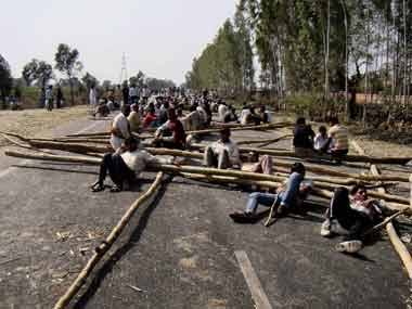 File photo of road blockade during the 2012 protests. PTI