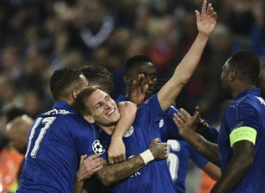 Leicester City fans celebrate after winning against Sevilla. AFP