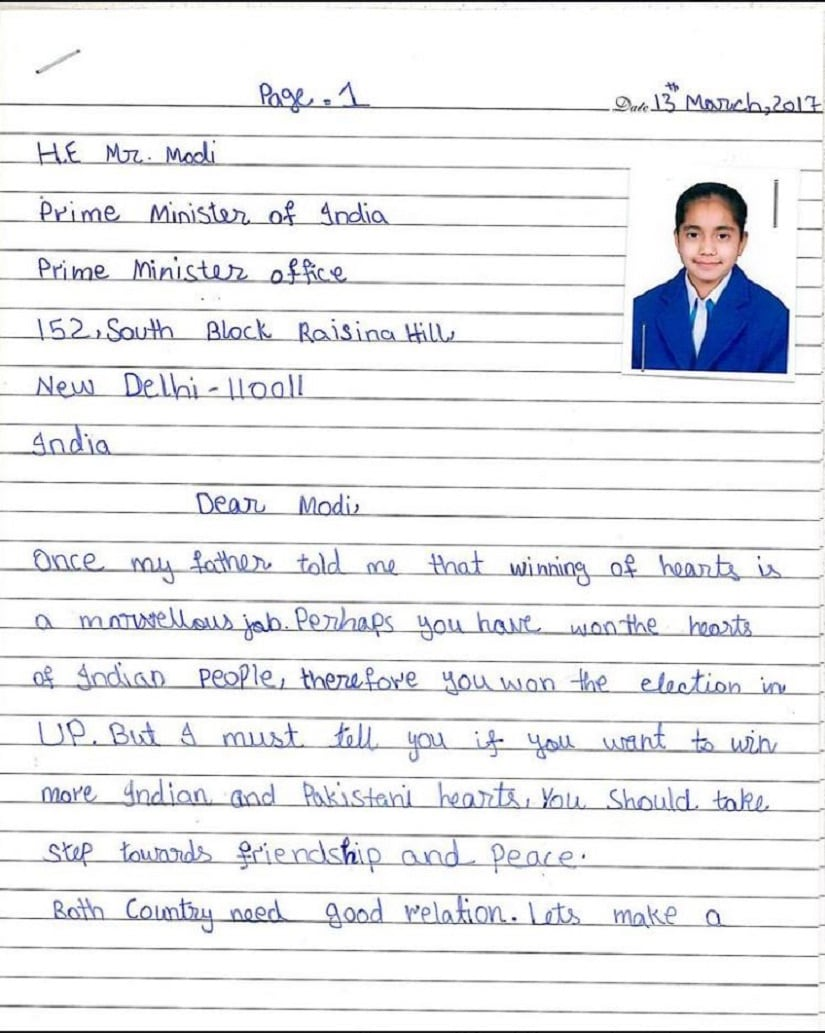 Letter to Modi from prolly dead Pak girl Page 1