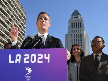 Los Angeles Mayor Eric Garcetti while announcing the Los Angeles bid for the 2024 Olympics. AFP