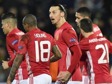 Manchester United players celebrate Zlatan Ibrahimovic's (centre) goal against Rostov. AFP