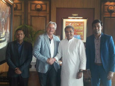 New India U-17 football coach Luis Norton de Matos (2nd from left) shaking hands with AIFF president Praful Patel. AIFF