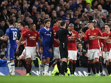 Manchester United were charged by the FA following Ander Herrera's dismissal. AFP