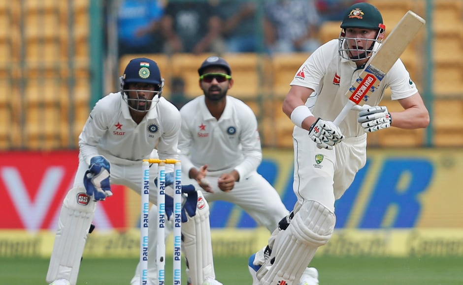 Australia's 20-year-old Matt Renshaw played a matured innings of 60 and took the Indian spin challenge on Day 2.