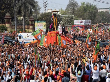 Huge crowd gathers at Prime Minister Narendra modi's roadshow in Varanasi on Saturday. PTI