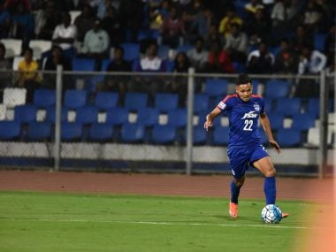 Nishu Kumar in action during a Bengaluru FC match.
