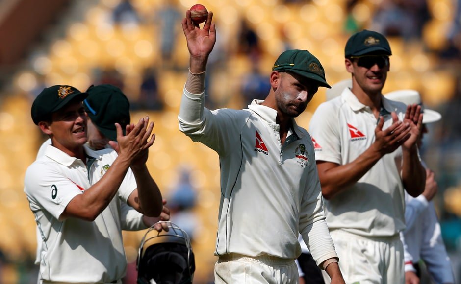 Australia's Nathan Lyon single-handedly trounced the Indian batting line-up with career-best figures on Day 1 in Bengaluru. REUTERS