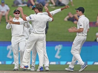 New Zealand celebrate the wicket of Dean Elgar of South Africa during day four. Getty