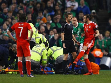 Gareth Bale was shown the yellow card for a reckless challenge on John O'Shea. Getty Images