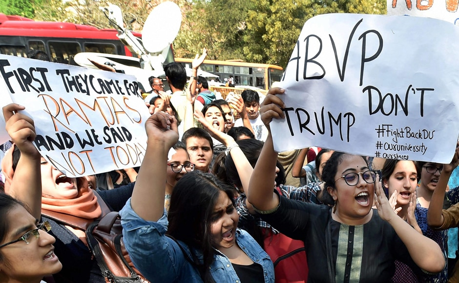 """The students held placards with messages like """"Save the varsities from the onslaught of ABVP"""" and """"Your nationalism is not above our democracy"""". PTI"""