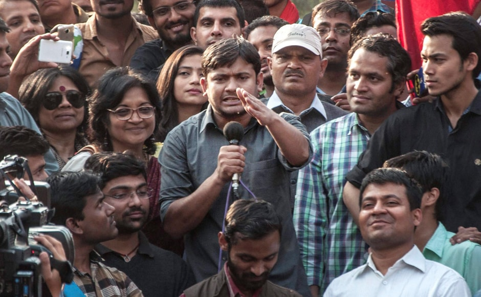 Kanhaiya Kumar, former president of the Jawaharlal Nehru University Students' Union addresses JNU students during their protest march against ABVP at North Campus in New Delhi on Tuesday. PTI