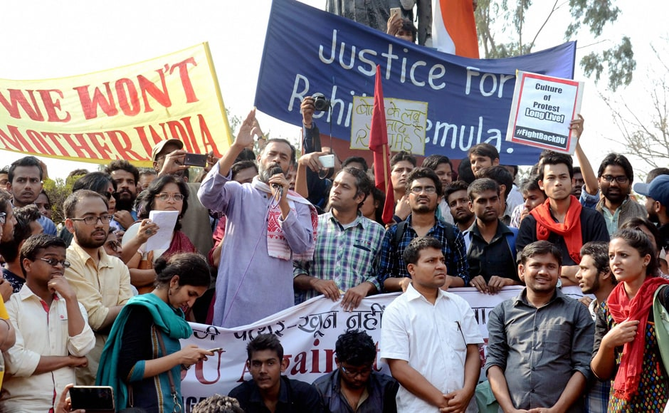 Yogendra Yadav addresses students of JNU during their protest march against ABVP at North Campus in New Delhi on Tuesday. PTI